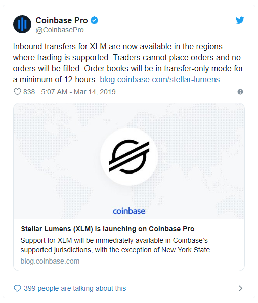 코인코드 | 스텔라 루멘스(XLM), 코인베이스 프로 상장