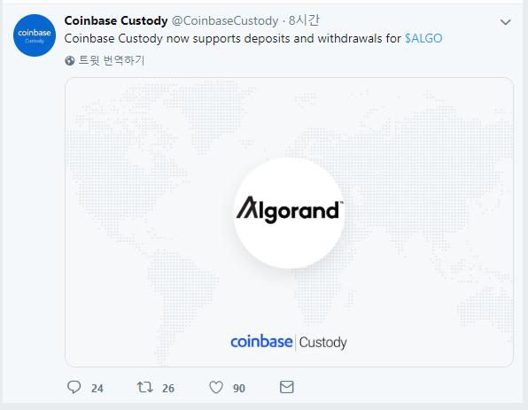 코인코드 | 코인베이스 커스터디, 알고랜드(ALGO) 토큰 지원