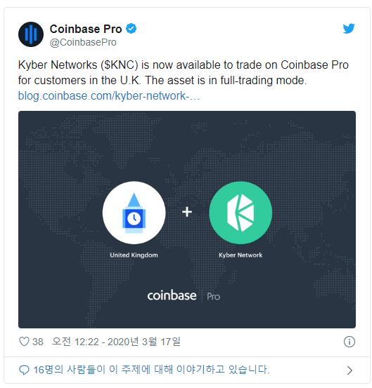 코인코드 | 카이버네트워크(KNC), 영국 코인베이스 프로에도 상장