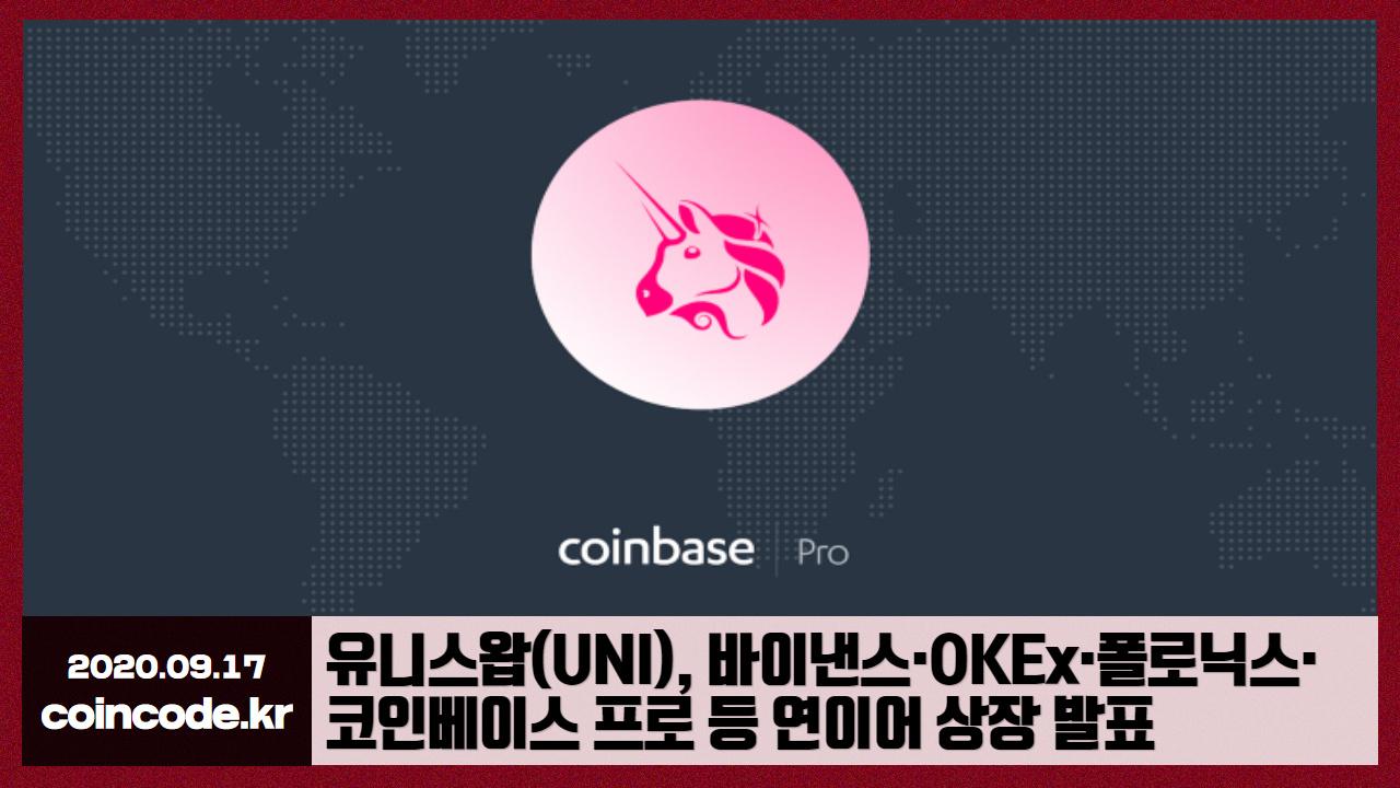 코인코드 | 유니스왑(UNI), 바이낸스·OKEx·폴로닉스·코인베이스 ...